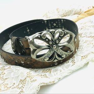 BKE Studded Leather Belt with Rhinestones